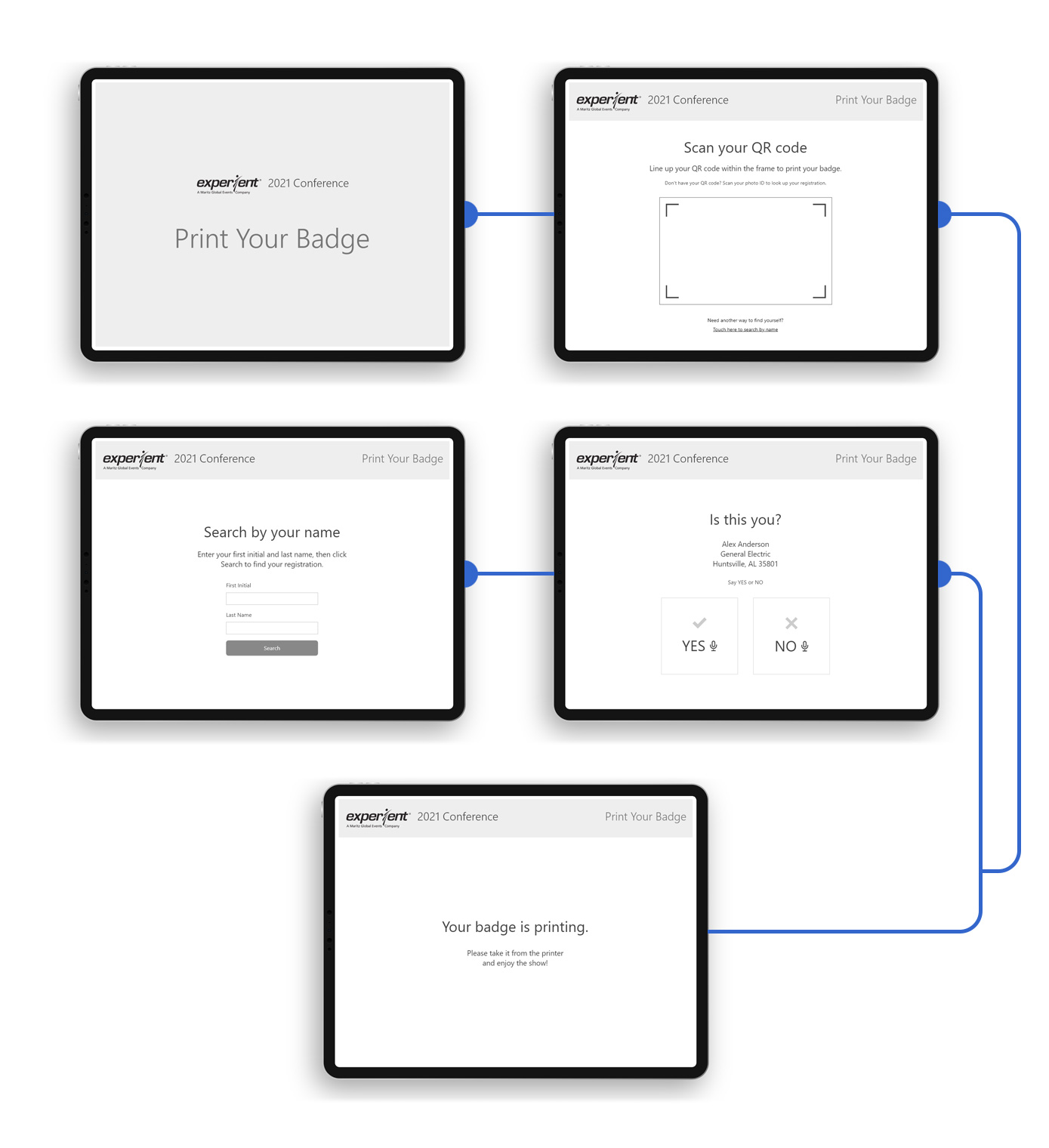 Touchless Badge Printing Low-Fidelity Wireframes